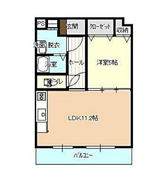 JR山陽本線 北長瀬駅 徒歩17分の賃貸マンション 2階1LDKの間取り