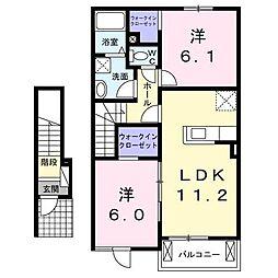 アマービレ A 2階2LDKの間取り