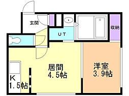 Knowledge円山(ナレッジ円山) 5階1DKの間取り