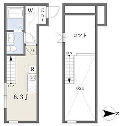 小田急江ノ島線 桜ヶ丘駅 徒歩4分の賃貸アパート 1階ワンルームの間取り