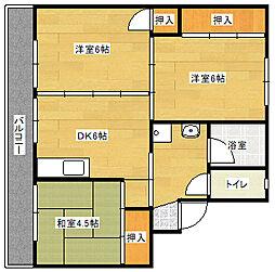 ビレッジハウス直方東 3号棟[306号室]の間取り