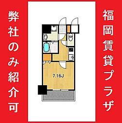 サヴォイ箱崎セントリシティ 13階1Kの間取り