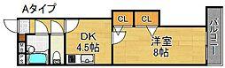ラフィーヌ帝塚山[4階]の間取り