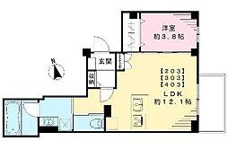 東京都目黒区原町1丁目の賃貸マンションの間取り