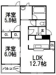 北海道札幌市豊平区平岸五条11丁目の賃貸マンションの間取り