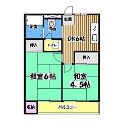 東京都東大和市向原4丁目の賃貸マンションの間取り