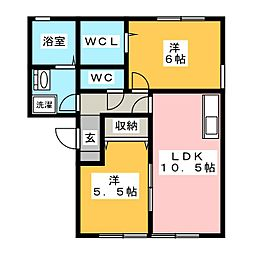 ヴィーブルK[2階]の間取り