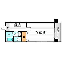 京阪本線 野江駅 徒歩1分の賃貸マンション 3階1Kの間取り