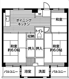 神奈川県鎌倉市手広5丁目の賃貸マンションの間取り