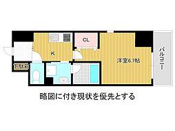 名古屋市営名城線 大曽根駅 徒歩3分の賃貸マンション 8階1Kの間取り