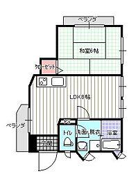 原田ビル[2階号室]の間取り