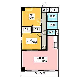 愛知県名古屋市中川区丸米町1丁目の賃貸マンションの間取り