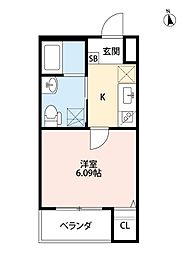 Osaka Metro谷町線 千林大宮駅 徒歩6分の賃貸アパート 2階1Kの間取り