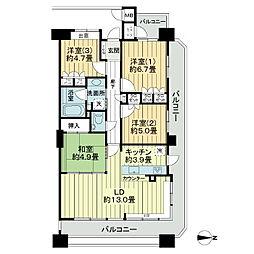 ランドシティ秋田駅前弐番館[6階]の間取り