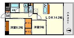 ボヌール新大阪[1階]の間取り