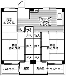 ビレッジハウス葛ノ葉6号棟[2階]の間取り