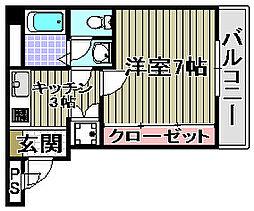 エスポワール鶴山台[201号室]の間取り
