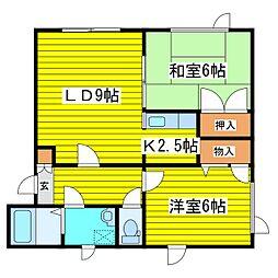 北海道札幌市東区北十三条東2丁目の賃貸アパートの間取り