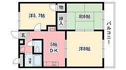兵庫県西宮市樋ノ口町1丁目の賃貸マンションの間取り
