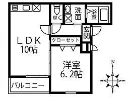 (仮称)フジパレス三島1丁目 2階1LDKの間取り