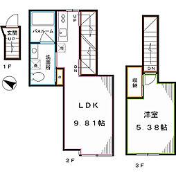 JR総武線 東中野駅 徒歩10分の賃貸アパート 3階1LDKの間取り