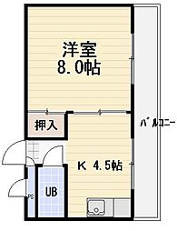 ビューハイツ守口[4階]の間取り