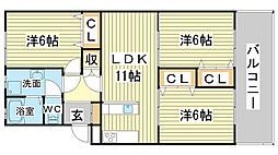 リノスタイル姫路北条[105号室]の間取り