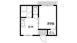 兵庫県神戸市兵庫区下三条町の賃貸マンションの間取り