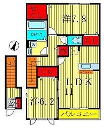 千葉県松戸市金ヶ作の賃貸アパートの間取り