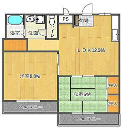 サニーサイド竹園[3階]の間取り