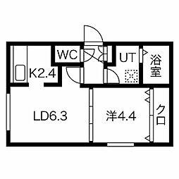 札幌市営東豊線 東区役所前駅 徒歩7分の賃貸マンション 2階1LDKの間取り