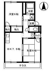 岡山県岡山市北区田益の賃貸アパートの間取り