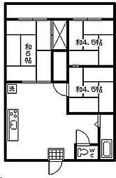 レピュート石川[B202号室]の間取り