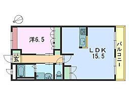 クレドール1番館[202号室]の間取り