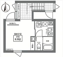 JR山手線 御徒町駅 徒歩10分の賃貸マンション 5階1Kの間取り