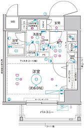 Le'a横濱関内弐番館 5階1Kの間取り