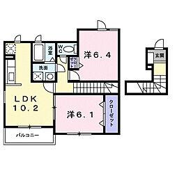 ラフレシ−ル三日市[2階]の間取り