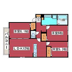北海道札幌市豊平区月寒東五条16丁目の賃貸アパートの間取り