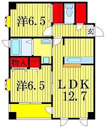 東京都葛飾区四つ木5丁目の賃貸マンションの間取り