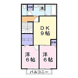 兵庫県加古川市東神吉町神吉の賃貸アパートの間取り