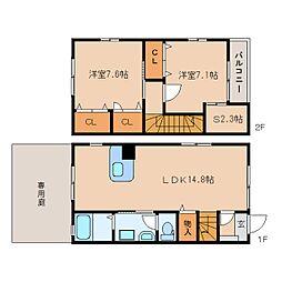 [テラスハウス] 静岡県静岡市葵区北安東 の賃貸【/】の間取り
