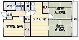 コートロイヤル 3階3DKの間取り