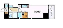 名古屋市営鶴舞線 大須観音駅 徒歩6分の賃貸マンション 8階ワンルームの間取り