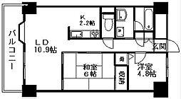 ダイアパレスシアース万代東棟[7階]の間取り