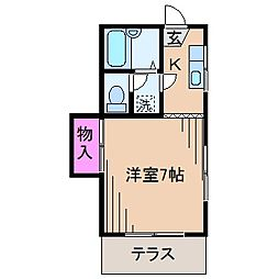 神奈川県横浜市港北区綱島東3丁目の賃貸アパートの間取り