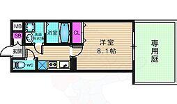 アドバンス京都アリビオ 1階1Kの間取り