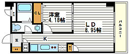 大阪府大阪市中央区谷町7丁目の賃貸マンションの間取り