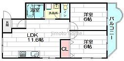 大建コーポ江坂[5階]の間取り