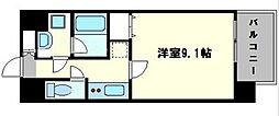 レオンコンフォート難波サウスゲート 2階1Kの間取り