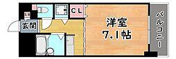 阪神本線 西灘駅 徒歩1分の賃貸マンション 2階1Kの間取り